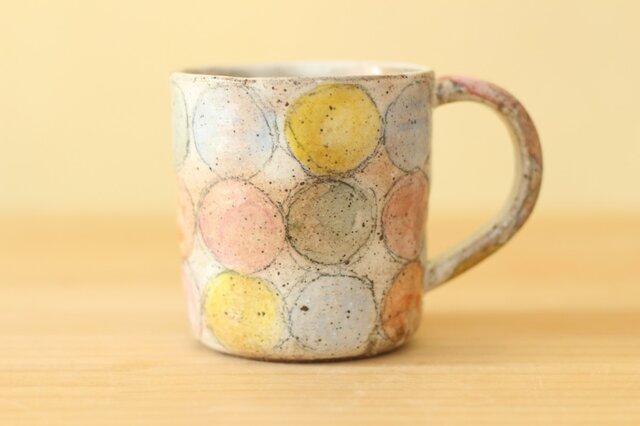 粉引きカラフルドットのカップ。の画像1枚目