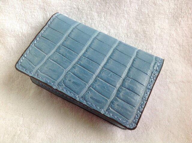ブルーグレークロコダイル 名刺・カード入れの画像1枚目