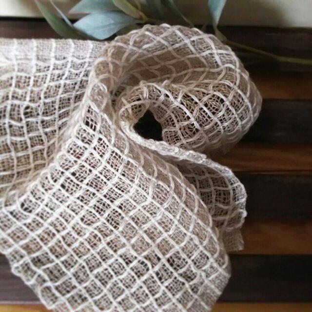 手織りリネンワッフル織りハンカチ~白の画像1枚目