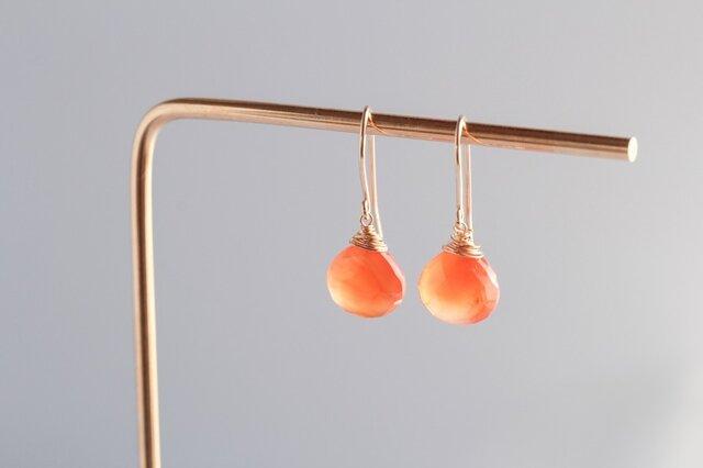 carnelian large hook earringsの画像1枚目