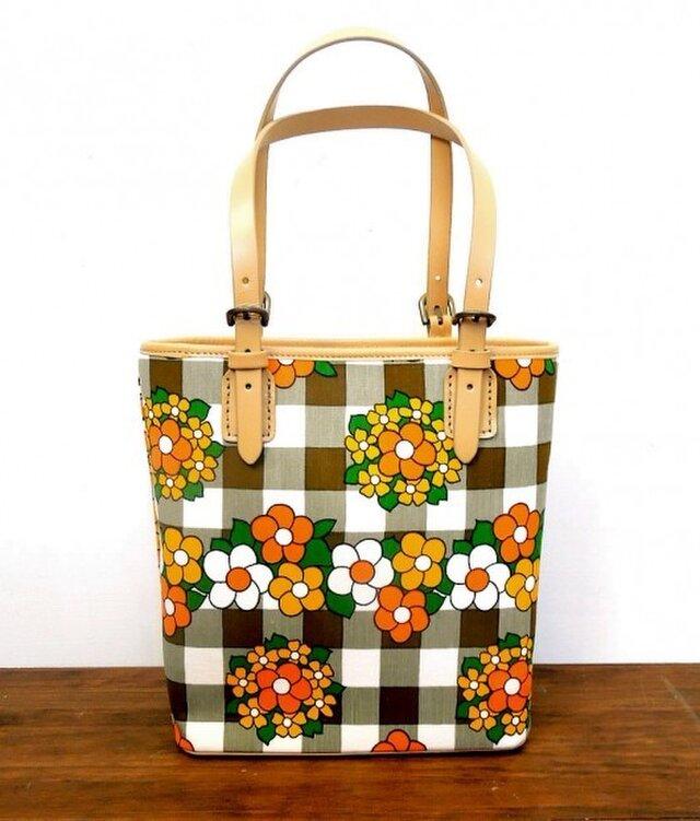 ヴィンテージファブリックのレトロなトートバッグ [花柄チェック]の画像1枚目