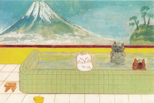 カマノレイコ オリジナル猫ポストカード「銭湯」2枚セットの画像1枚目