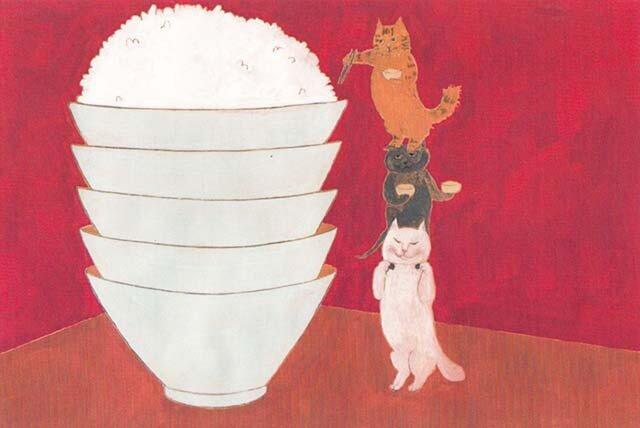 カマノレイコ オリジナル猫ポストカード「ごはんをもらう」2枚セットの画像1枚目