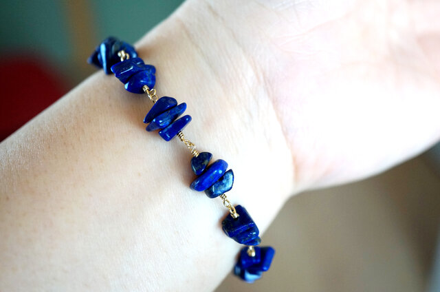 ブルースペースラピスラズリブレスレット Blue space Lapis lazuli brecelet B0017の画像1枚目