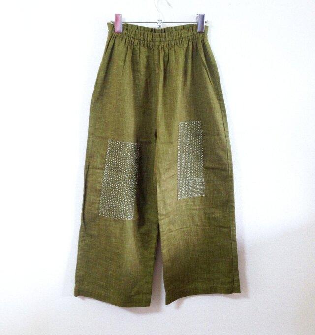 草色むら糸染め刺し子パンツの画像1枚目