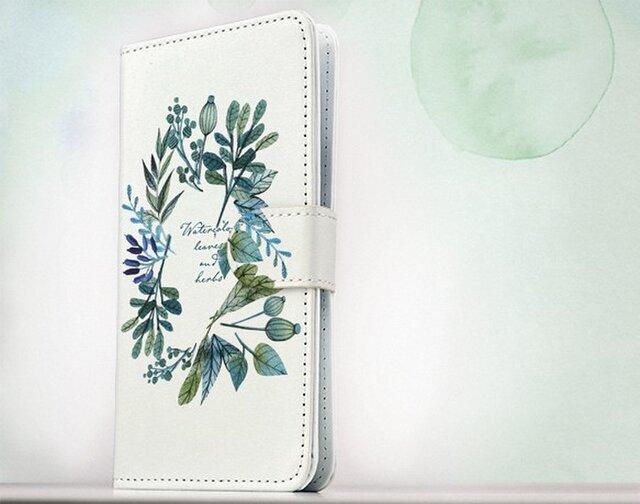 全機種対応 手帳型 スマホケース iPhoneXs iPhone9 iPhoneXs Max花柄 水彩で描いた花とハーブの画像1枚目
