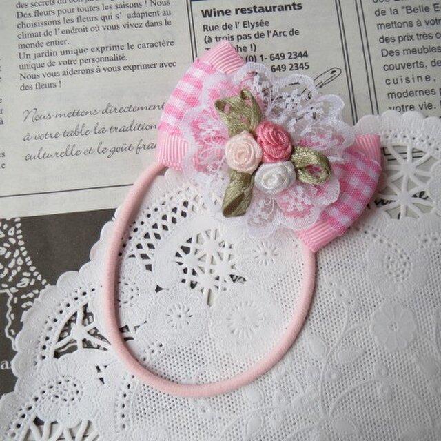 ●ガール● ピンクとレースとバラのりぼんゴムの画像1枚目