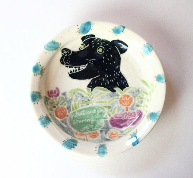 熊と花の皿/陶器/可愛い子ども食器/ 陶芸家/ キッズ食器 / potteryの画像1枚目