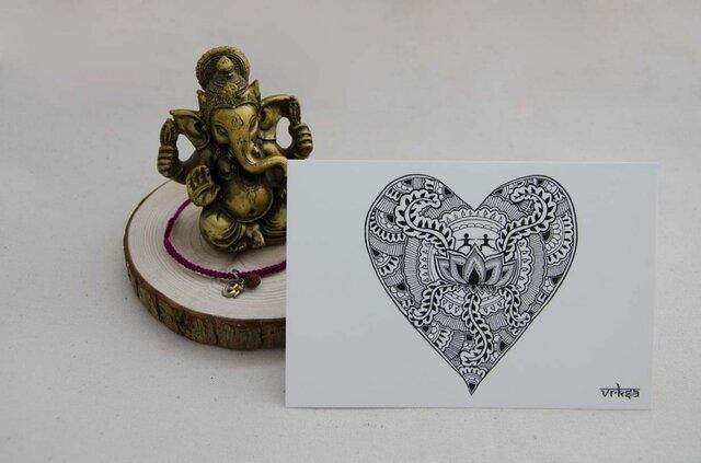 ハートデザインのポストカード(3枚1組)の画像1枚目