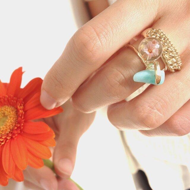 いばらring (silver 925 製、10金メッキ ) Gold / Pink flowerの画像1枚目