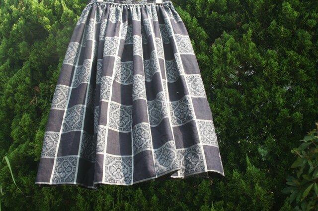 紬のスカート 黒 キュプラのペチコート付の画像1枚目