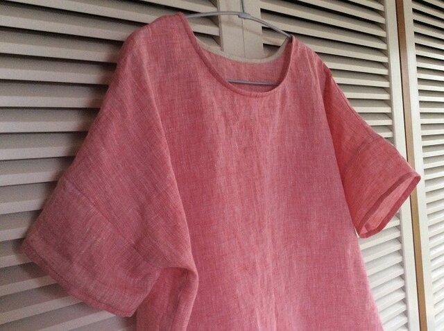 受注製作~ザブザブ洗えるリネンシャンブレーの布帛Tシャツの画像1枚目