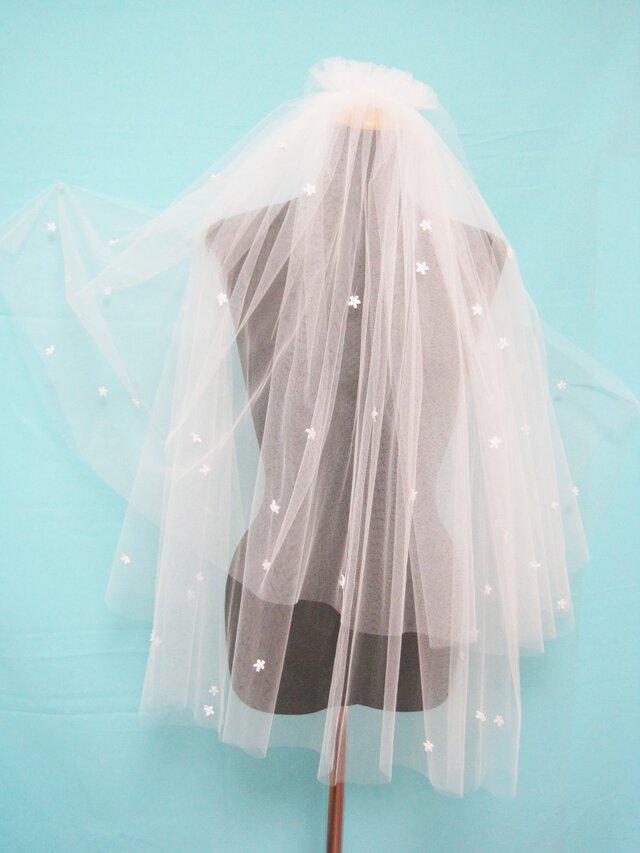ビーズ玉付小花刺繍パーツ ホワイトカラーショートベールー704の画像1枚目