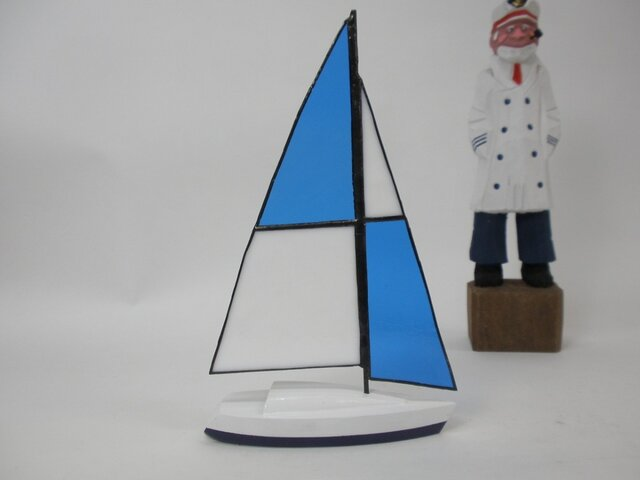 帆船模型 ヨット ステンドグラスセイル Cの画像1枚目