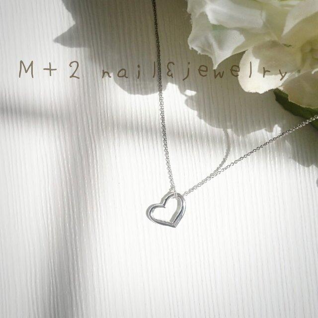 オープンハート~silver heart~ネックレス (シルバー色)の画像1枚目