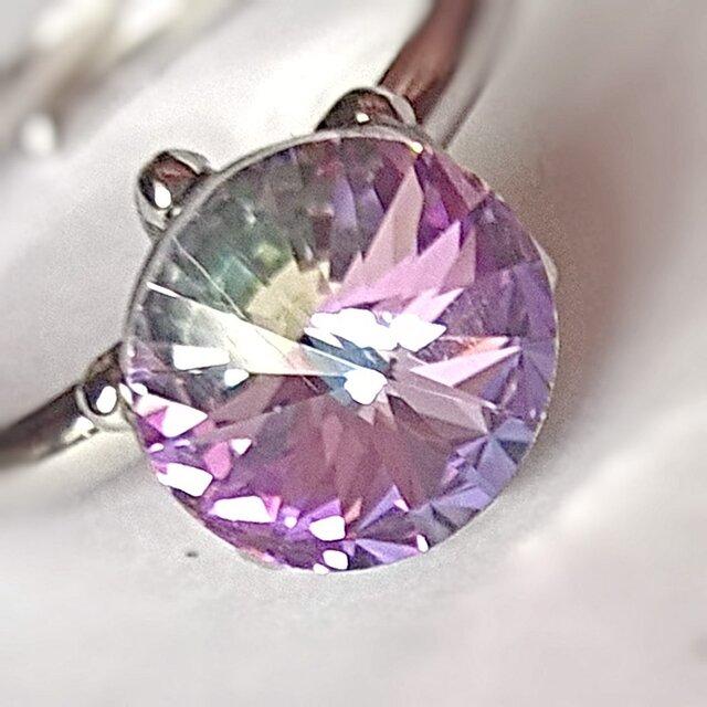 【スワロフスキー sparkle  一粒リング⑧】crystal vitrail light 全39色の画像1枚目