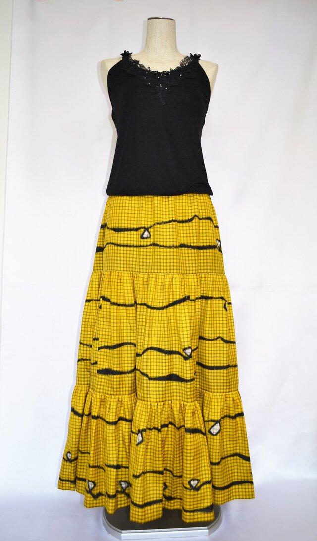 銘仙スカート:黄色 セミオーダー可の画像1枚目