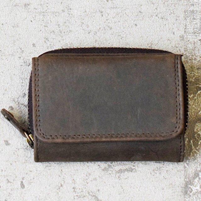 オールレザーで仕上げたコンパクトなミニ財布 【ブラウン】 名入れできますの画像1枚目