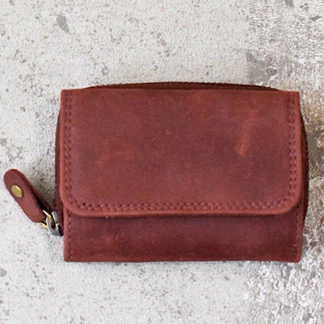 オールレザーで仕上げたコンパクトなミニ財布 【ワインレッド】 名入れできますの画像1枚目