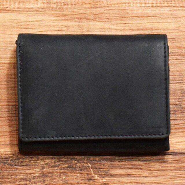 オールレザーで仕上げたシンプルで上質な二つ折り財布 【ブラック】 名入れできますの画像1枚目