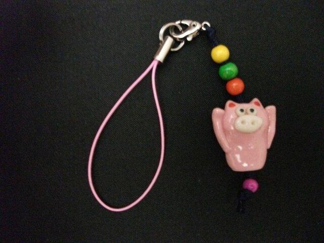 ピンクのトン豚ストラップの画像1枚目