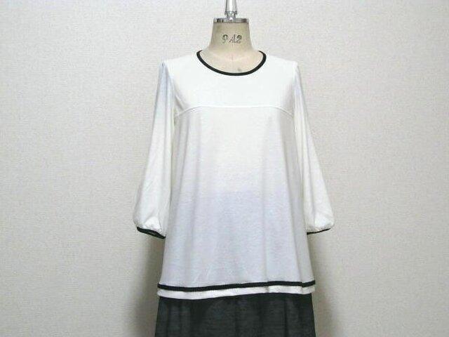 SALE・限定1点☆高級綿のAライン七分袖ブラウスの画像1枚目