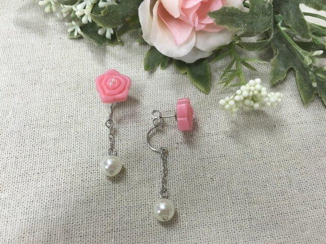 ピンクのバラの2wayピアスの画像1枚目
