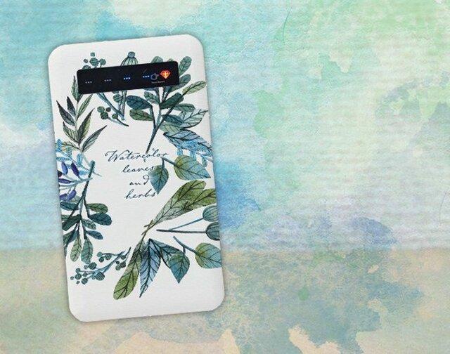 【モバイルバッテリー】水彩で描いた花とハーブ for iPhone&Androidの画像1枚目