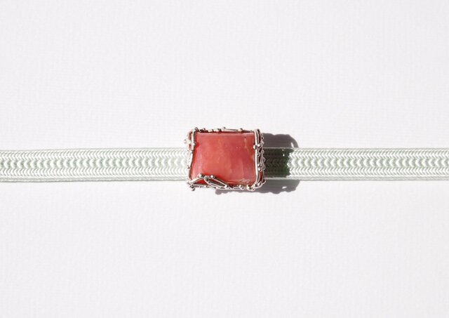 薔薇輝石(ロードナイト)長方形帯留の画像1枚目