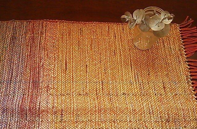 *手織り* プレイスマット 橙グラデの画像1枚目
