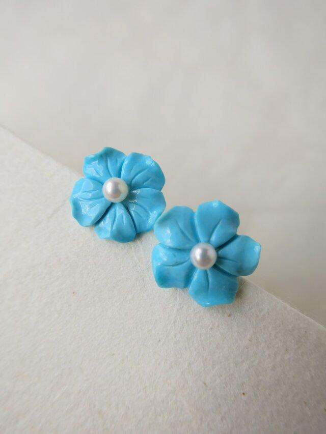 K14WG Turquoise flower Pierceの画像1枚目