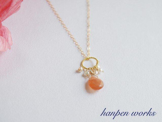 14kgf 宝石質 オレンジ ムーンストーン 淡水パール ネックレスの画像1枚目