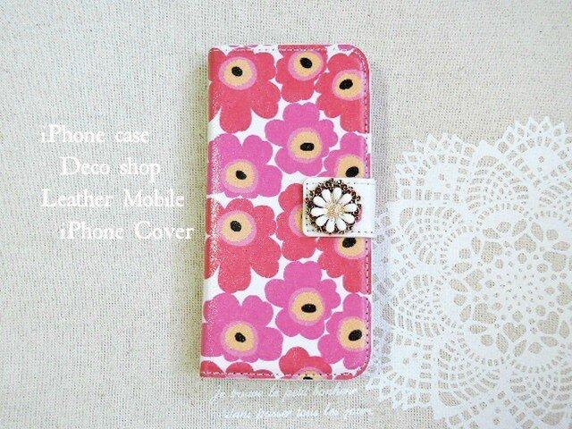 セール★iPhone6/6s♡花柄ピンク フラワービジューつきの画像1枚目