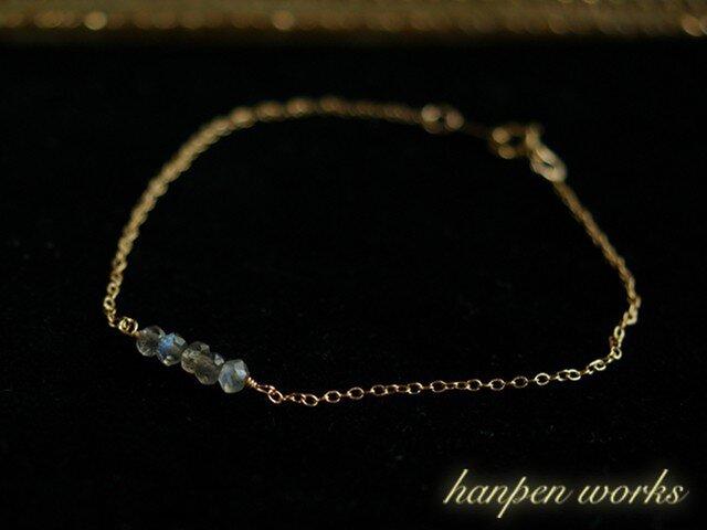 14kgf 宝石質 ラブラドライト ブレスレットの画像1枚目