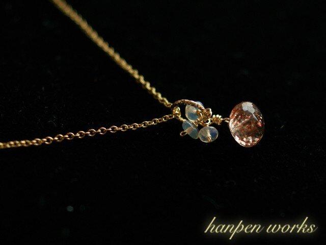 14kgf 宝石質 サンストーン オパール ネックレスの画像1枚目