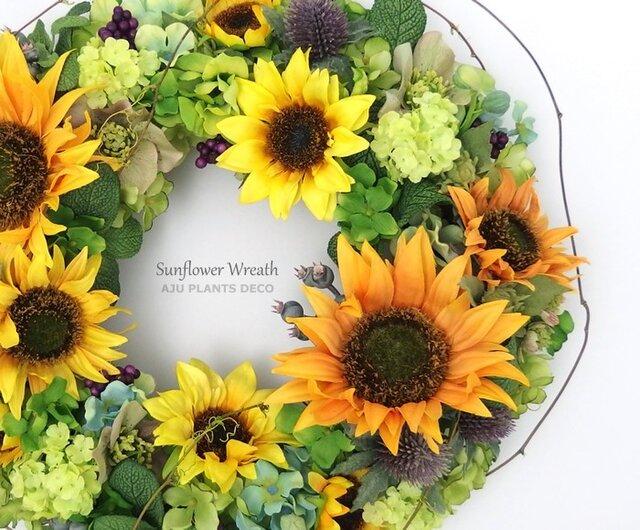 Sunflower Wreath 2 35~37cmの画像1枚目