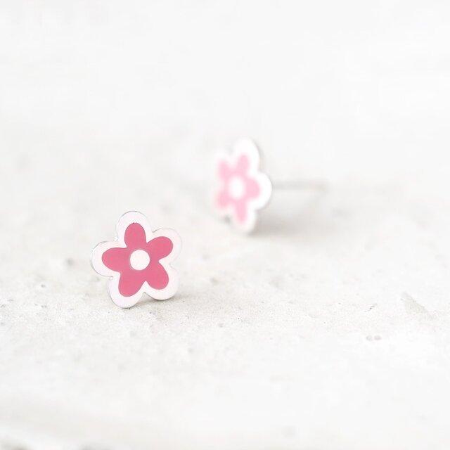 手書き風 ピンク 花 ピアス シルバー925の画像1枚目