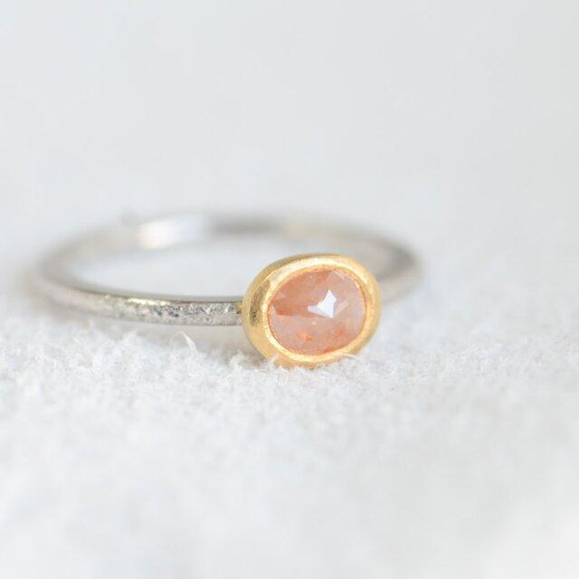 ナチュラルピーチピンクダイヤモンドのPt900/K22リング(小さいサイズ)の画像1枚目