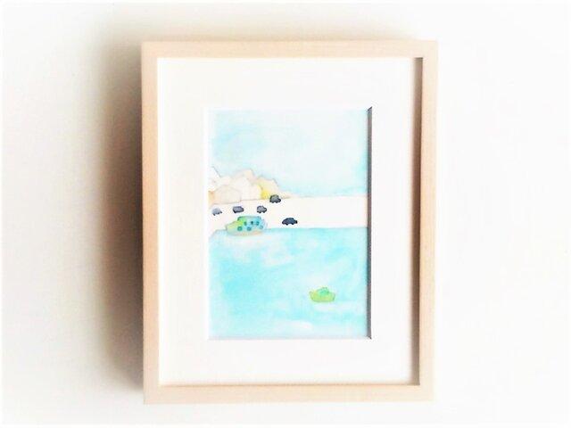 「港の朝」イラスト原画/額縁入りの画像1枚目