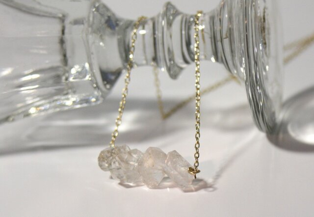 【14kgf】天然石ハーキマーダイアモンド ネックレスの画像1枚目