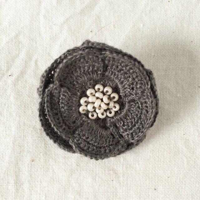 flower brooch C - ダークグレーの画像1枚目