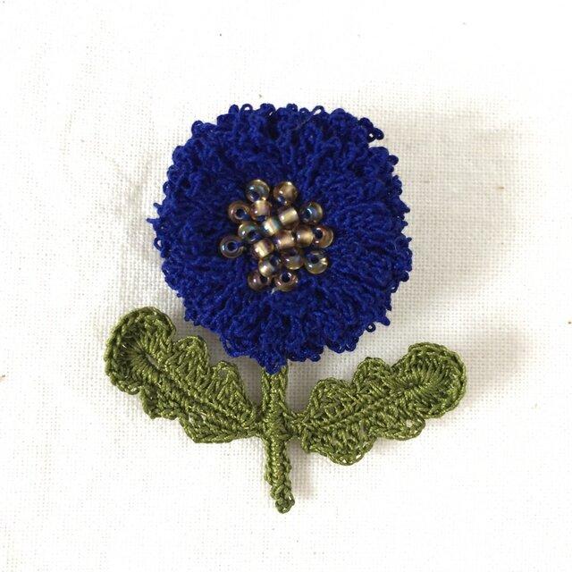 flower brooch B - ダークブルーの画像1枚目