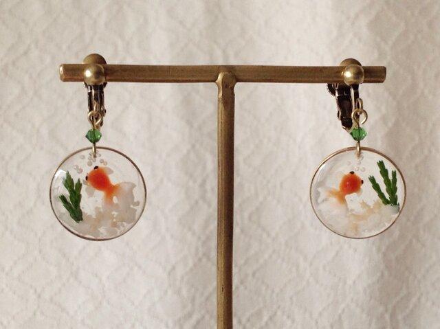 金魚鉢風のイヤリング(平面小)の画像1枚目