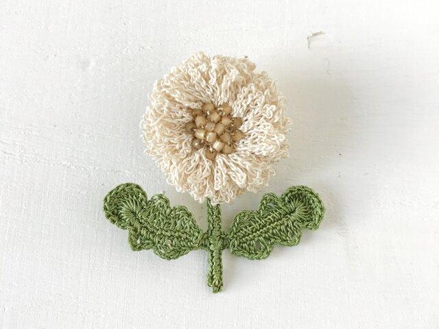 flower brooch B - オフホワイトの画像1枚目