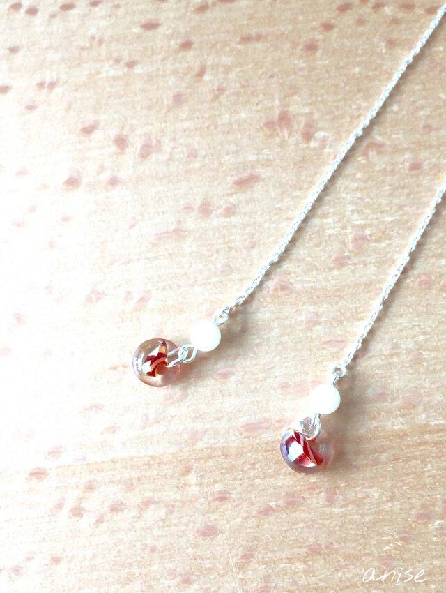 ガラス チェーンピアス (red) Silver 925 no.2の画像1枚目