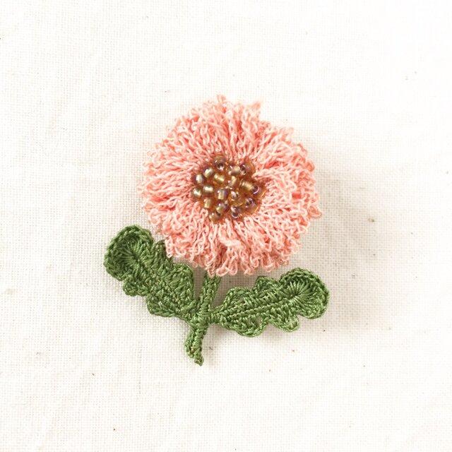 flower brooch B - ライトサーモンピンクの画像1枚目
