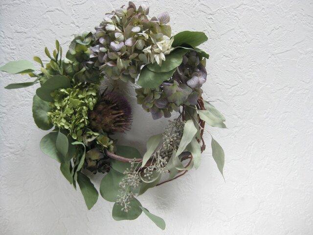 summer wreath(紫陽花とアーティチョーク)の画像1枚目