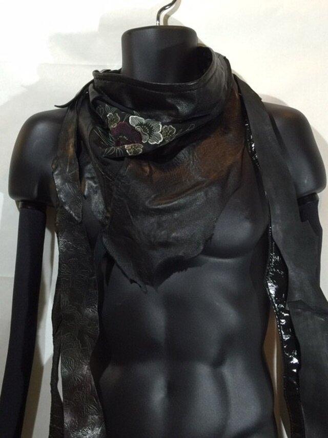 JIN  BAT STOLE  * 椿 着物&羊革 + 爪部は牛革の画像1枚目