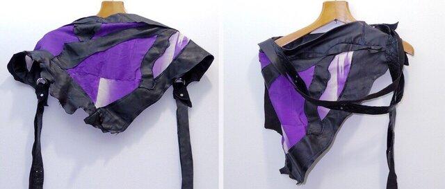 JIN  BAT STOLE  * 川の流れ 紫着物&羊革 + 爪部は牛革の画像1枚目