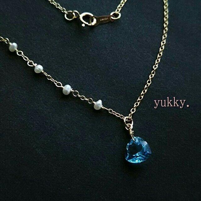 宝石質スイスブルートパーズ♪トリリアント14kgfネックレス(45cm)【一点のみ】の画像1枚目